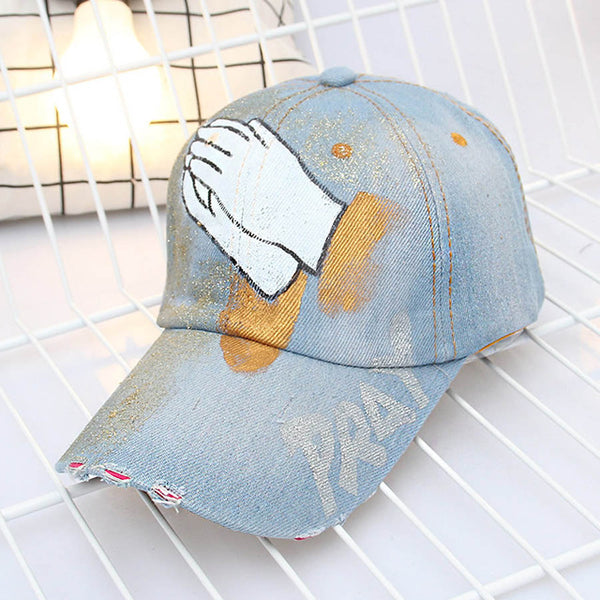 Hand Painted Praying Hands Adjustable Denim Baseball Cap - Ballooo