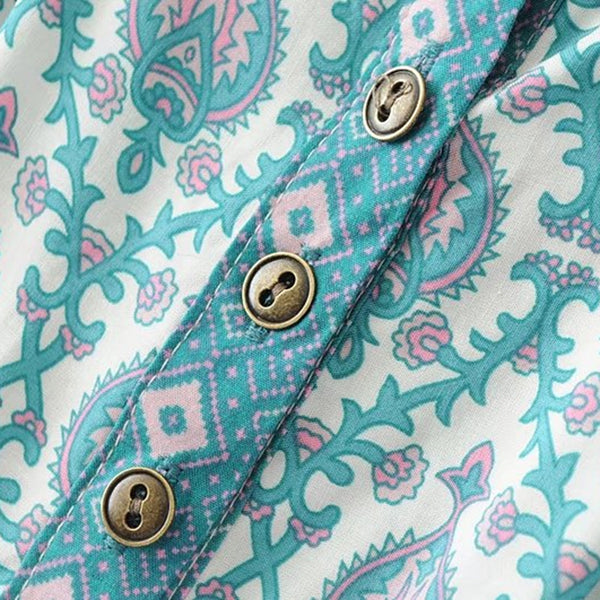 Vintage Ethnic Sea Blue Blouse - Ballooo