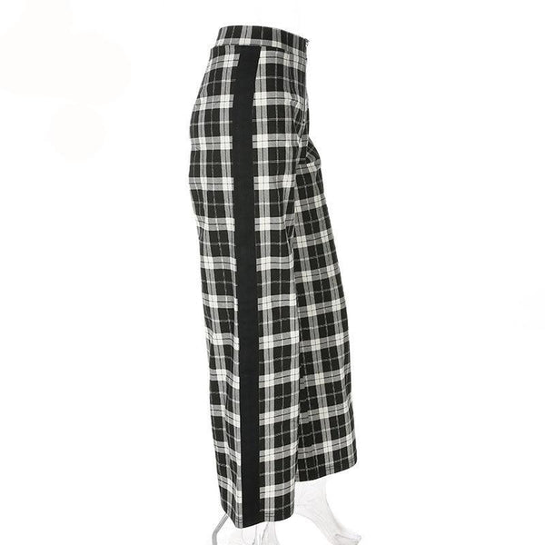 Cressida - Flared High Waisted Side Stripe Plaid Pants (Top not included) - Ballooo