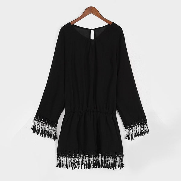 Bedouin Mini Bohemian Long Sleeve Tassel Dress - Ballooo