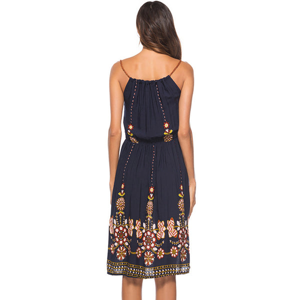 Indira - Mid Length Sleeveless Summer Boho Dress - Ballooo