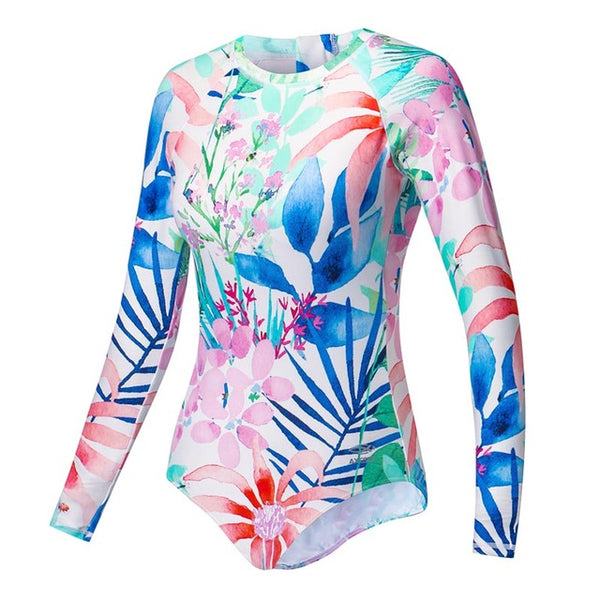 1B - AXESEA 2018 New Swimsuit Women Rashguard Long Sleeve One Piece Swimwear UPF50+ Print Floral Flamingo Back Zipper Rash Guard - Ballooo