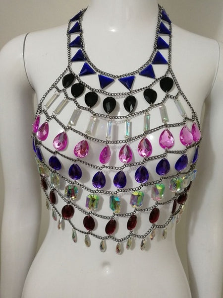 Cleopatras Necklace - Colourful Large Beaded Halter Necklace/ Body Jewelry - Ballooo