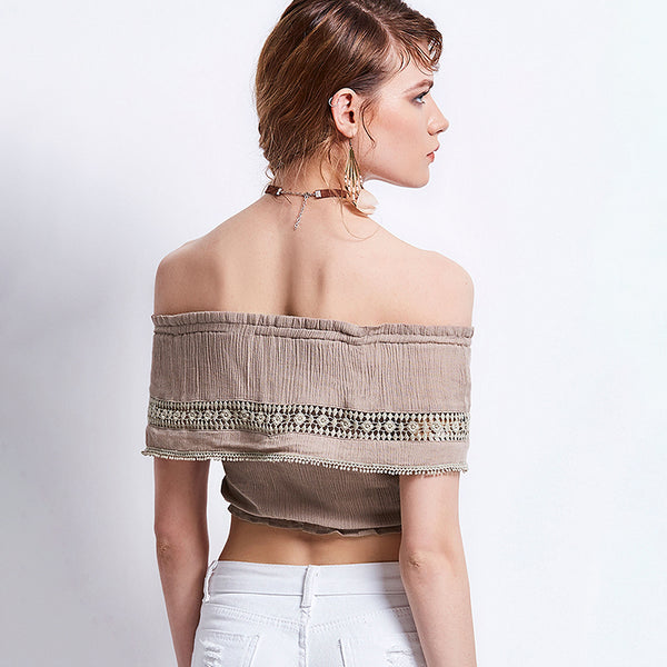 Desiree - Off the Shoulder Double Layer Boho Hippie Crop Top - Ballooo