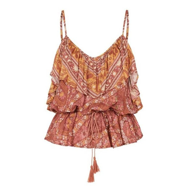 Raffia - Matching Paisley Boho Camisole and Ruffled Pant Separates