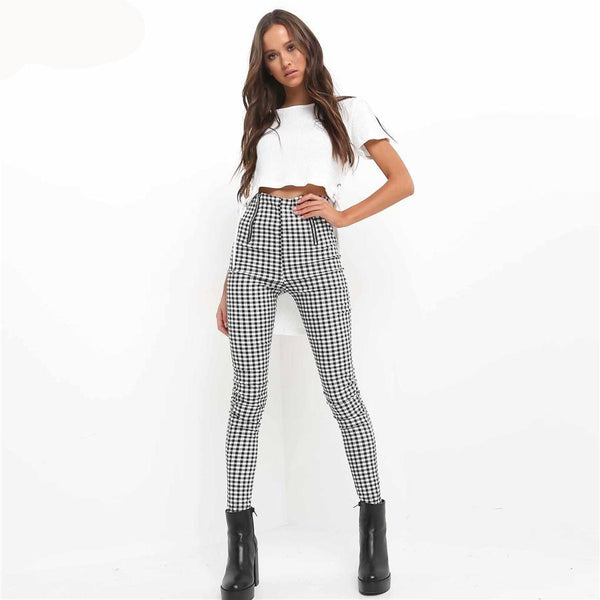 Petula - Vintage Grey and White Tight Stretchy Plaid Pants with Zipper Pockets - Ballooo