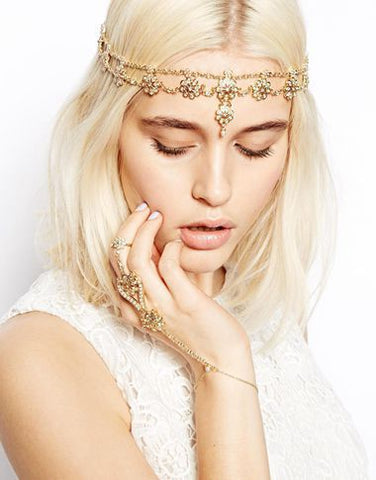 Gold Coloured Flower Tassel Stretch Headband - Ballooo