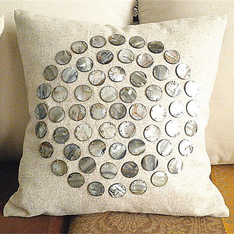 Handmade linen conch shell luxury cushion cover - Ballooo