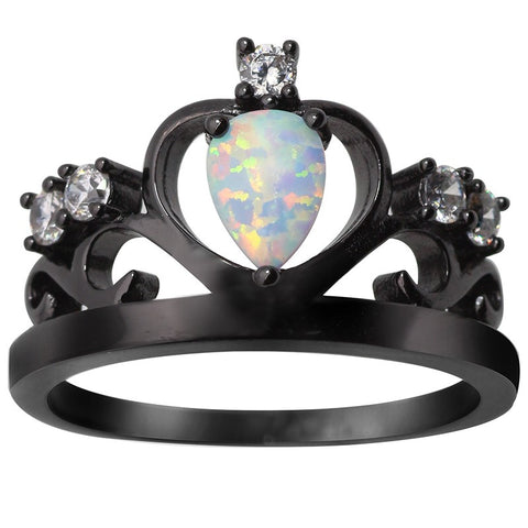 The Queen of the Night ring - Fire Opal Black Crown ring with AAA cubic zirconia - Ballooo