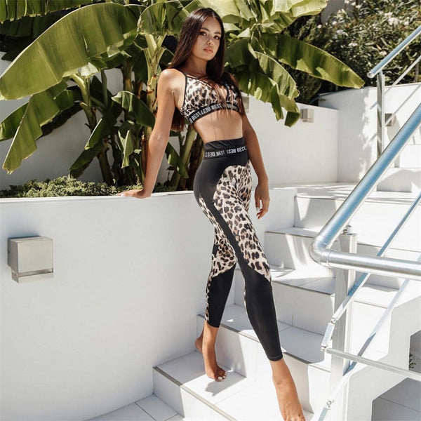 Atieno - 2 Piece Leopard Print Active Wear Set