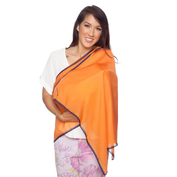 LOLA CHENG Organic Silk Nursing Cover, Nursing Scarf, Nursing Privacy Cover Orange