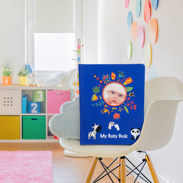 Lola Cheng Baby Record Book with Ink Pad Kit - Baby Boys and Girls