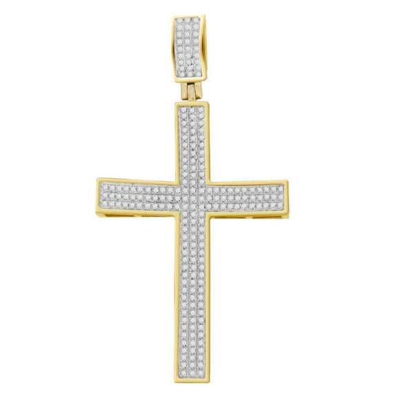 (Large) YellowGold CZ Cross Pendant