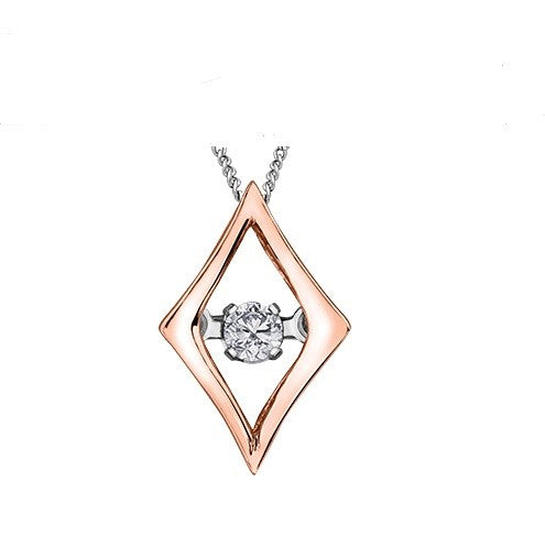 (0.02CT) Rose and White Gold Pendant