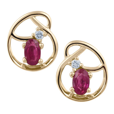 Yellow Gold Ruby Earrings with Canadian Diamond