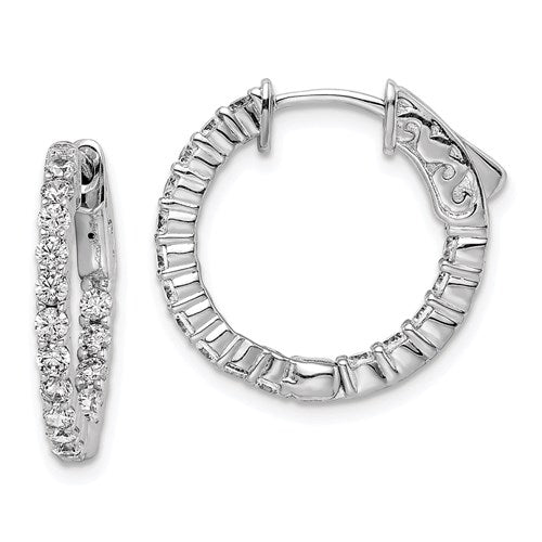Sterling Silver 15mm CZ Stones In And Out Round Hoop Earrings