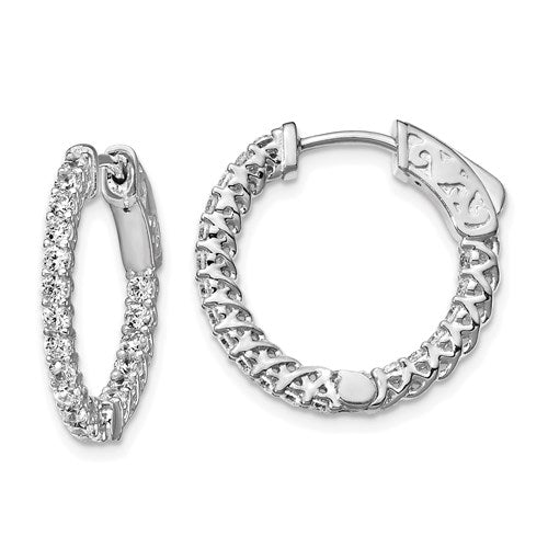 Sterling Silver 11mm CZ Stones In And Out Round Hoop Earrings