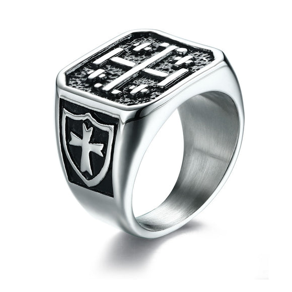 Stainless Steel Square Cross Ring
