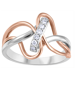 (0.10cttw)Rosegold and Whitegold Diamond Ring