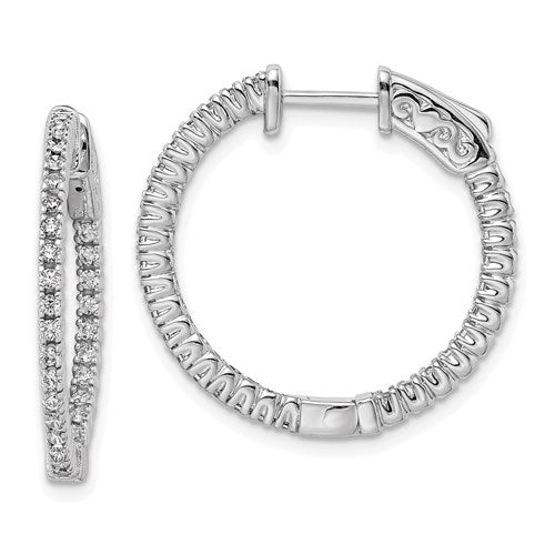 Sterling Silver 20mm CZ Stones In And Out Round Hoop Earrings