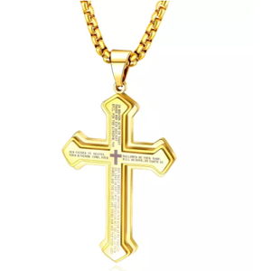 Stainless Steel Our Father Prayer Cross Necklace