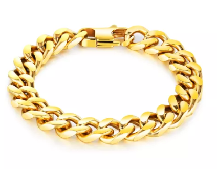 Stainless Steel Goldip Curb bracelet