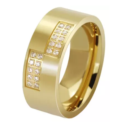 Comfort fit Gold Stainless Steel Ring with Cubic Zirconia