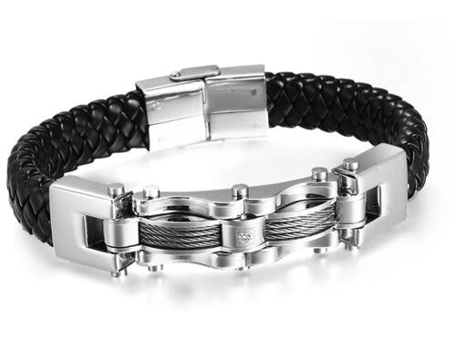 Cable and Leather Bracelet