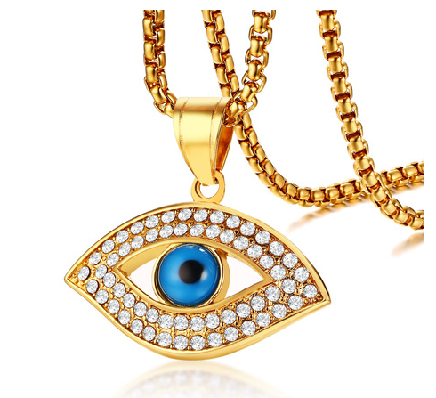 Cubic Zirconia Evil Eye Gold Ip Pendant Necklace