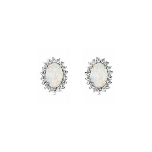 Silver Silver Halo Opal Earrings