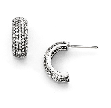 Cz Sterling Silver Post Hoop Earrings