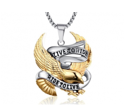 Live to Ride Ride to Live Gold Eagle Stainless Steel Pendant