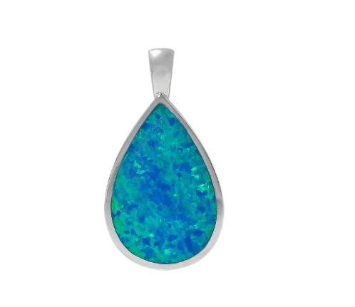 Sterling Silver Pear Shape Blue Opal Necklace
