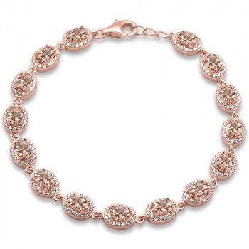 Sterling Silver Simulated Morganite CZ Oval Halo Bracelet