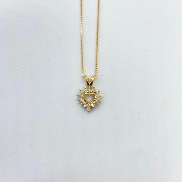 (0.18cttw) Yellowgold Diamond Heart Pendant(small)