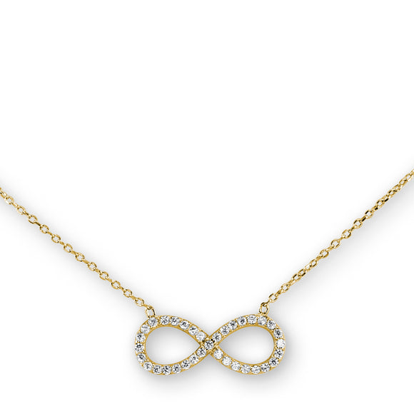 Sterling Silver Gold Plating Infinity Necklace