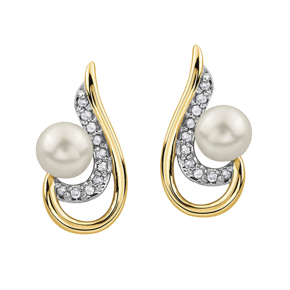 (0.084cttw) Yellow gold Pearl and Diamond earrings