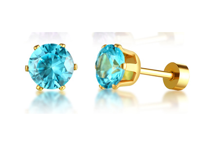 Stainless Steel Birthstone Stud Earrings (March)