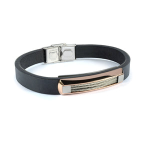 Flat Leather Bracelet with Steel Cable