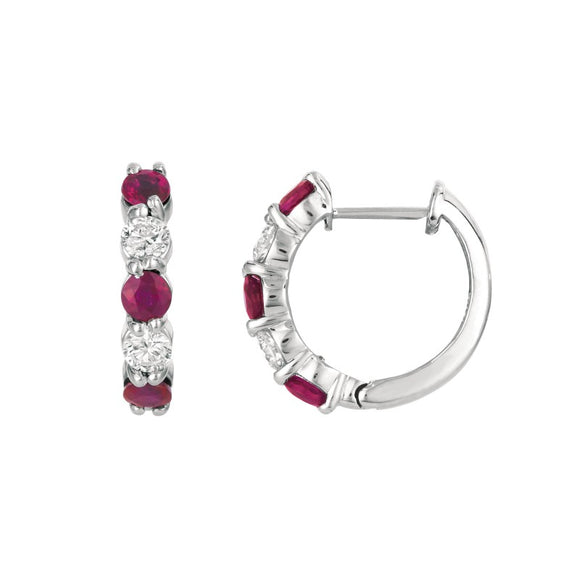(0.59cttw) WhiteGold Ruby and Diamond Huggies