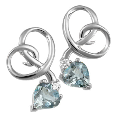(0.025cttw) Whitegold Aquamarine  Earrings with Canadian Diamond