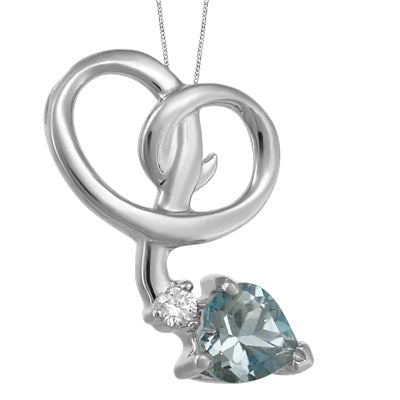 (0.24cttw) Whitegold Aquamarine and Diamond Necklace