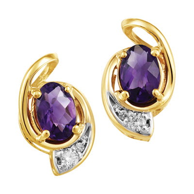 YellowGold Amethyst  Earrings with Canadian Diamond