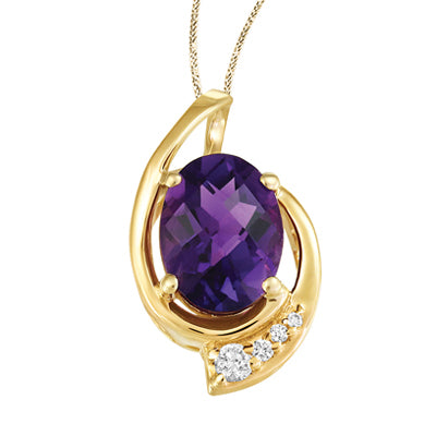 (0.026Cttw) YellowGold Canadian Diamond and Amethyst