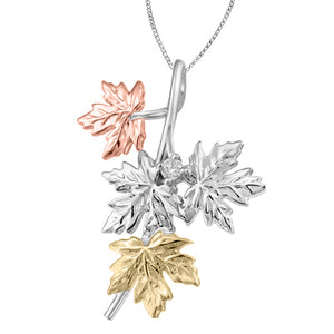 (0.27ct) Tri Color Maple Leaf Necklace