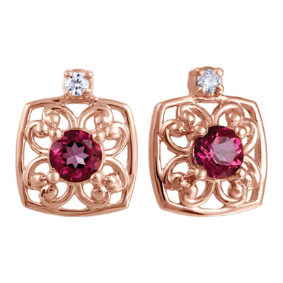 (0.05cttw) Rosegold PinkTopaz Earrings with Canadian Diamond