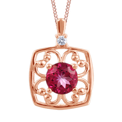 (0.027cttw) Rosegold and Pink Topaz Necklace