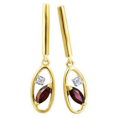 (0.054cttw) YellowGold Garnet Earrings with Canadian Diamond