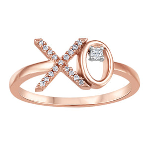 (0.028cttw) Rosegold X and O Diamond Ring