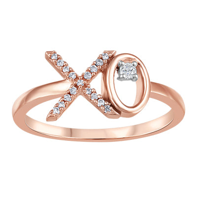 (0.05cttw)Rosegold X and O Diamond Ring
